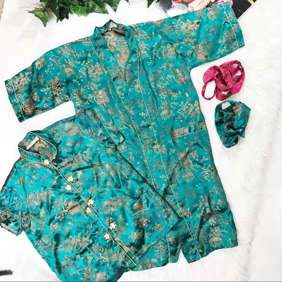8ae046c6e9 Girls Chinese Robe   Top Set Jade Green Vintage